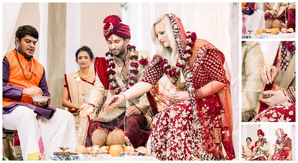 Bride & groom pray and practice Hindu ceremonial ritual for wedding| Tulsa Hindu wedding| Indian wedding Tulsa| Sky Loft at First Place Tower| Tulsa wedding photographer| Andi Bravo Photographer