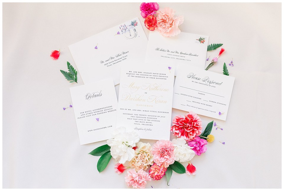 Gorgeous wedding invitations with bright pink and red flowers| The Mayo Tulsa| Tulsa wedding photographer| Andi Bravo Photography