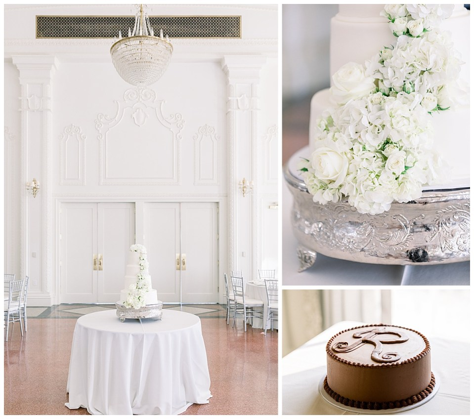 White wedding cake with white flowers| Chocolate groom cake| The Mayo Hotel Wedding| Tulsa wedding photographer| Andi Bravo Photography