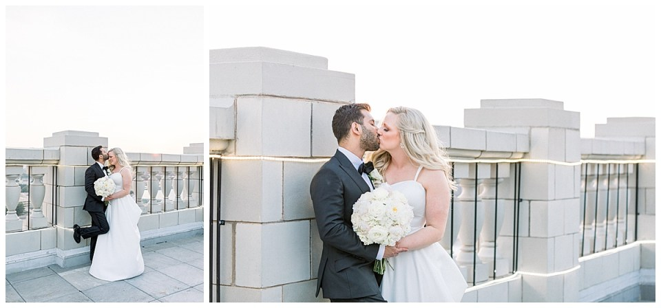 Bride and groom kiss on rooftop| The Mayo Hotel Wedding| Tulsa weddings| Tulsa wedding photographer| Andi Bravo Photography