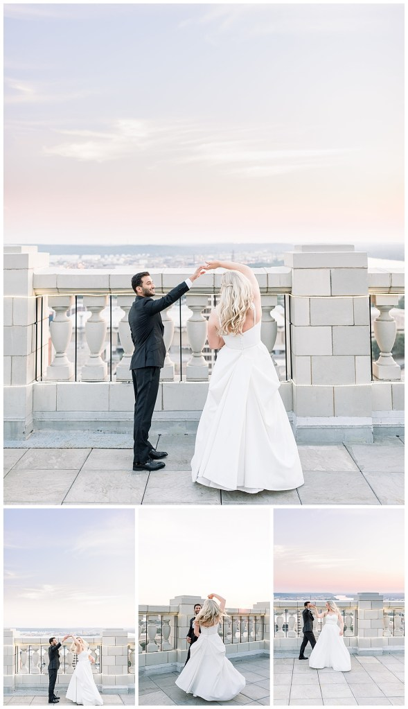 Bride and groom dance on rooftop at sunset| The Mayo Hotel Wedding| Sunset wedding dance| Tulsa weddings| Tulsa wedding photographer| Destination wedding photographer| Andi Bravo Photography