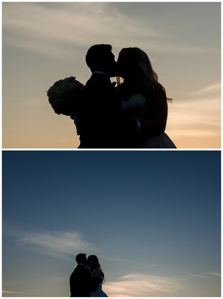 Bride and groom silhouettes kissing at sunset| The Mayo Hotel wedding| Sunset kiss| Tulsa Wedding photographer| Andi Bravo Photography