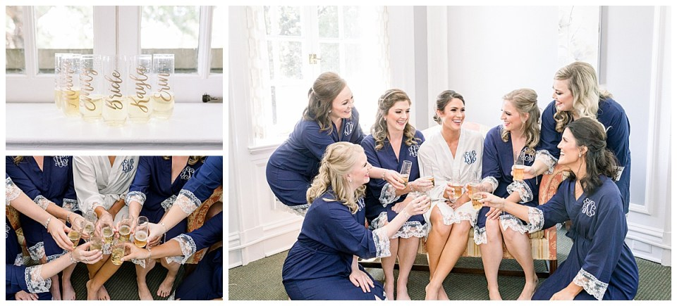 Bride and bridesmaids toasting while getting ready| Tulsa wedding venue| Tulsa wedding photographer| Andi Bravo Photography