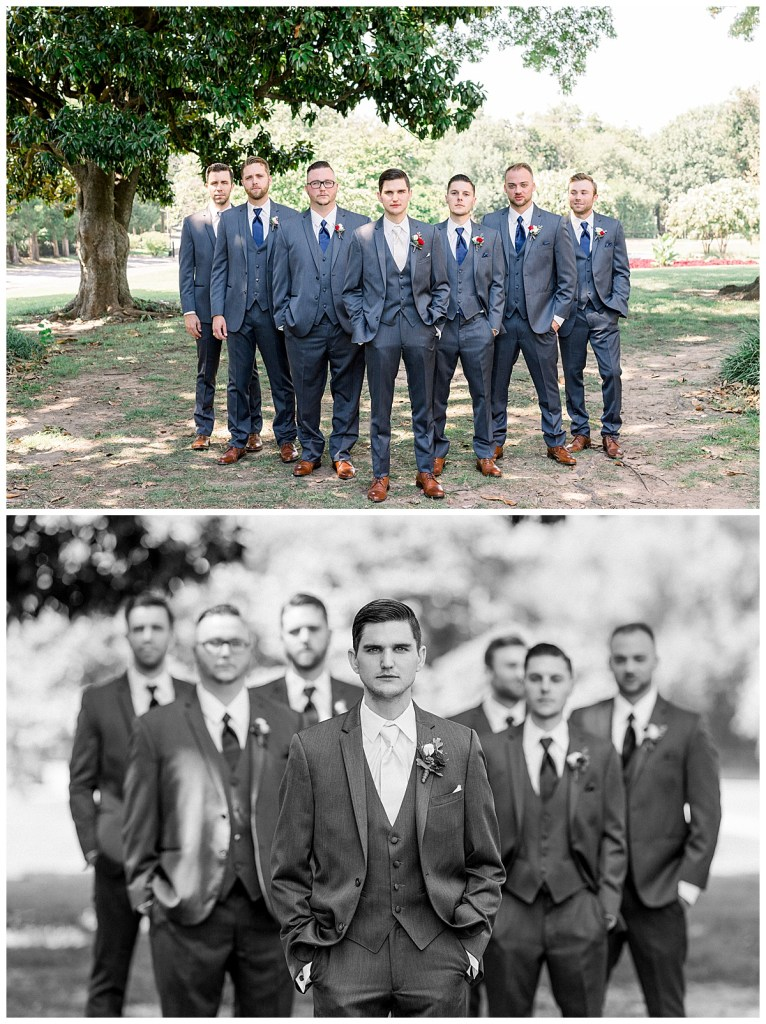 Groomsmen standing underneath trees in formation| Steel blue groomsmen| Tulsa wedding photographer| Andi Bravo Photography