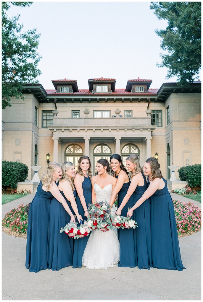 Blue bridesmaids dresses| Tulsa wedding venue| Mansion at Woodward Park| Andi Bravo Photography