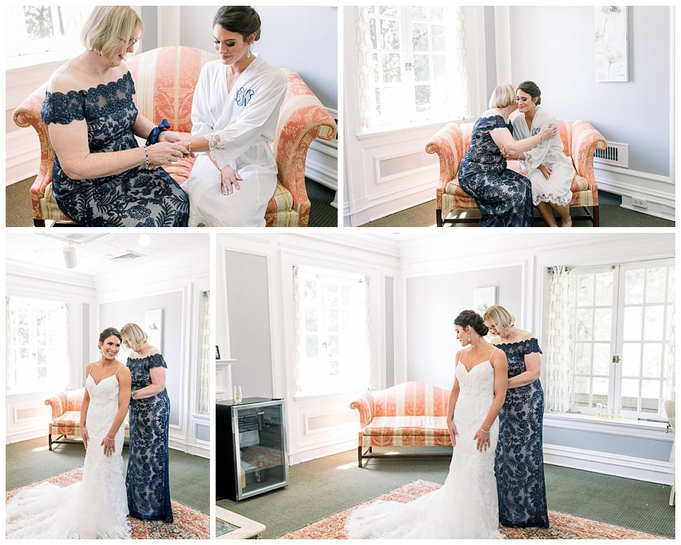 Mother of the bride putting jewelry on bride and helping her zip up dress| mother of the bride| Tulsa wedding photographer| Andi Bravo Photography