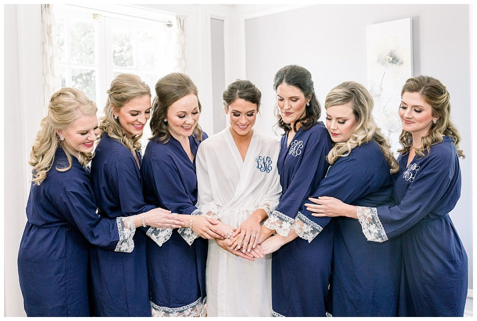 Bride and bridesmaids in blue lacy robes| Tulsa wedding| Andi Bravo Photography