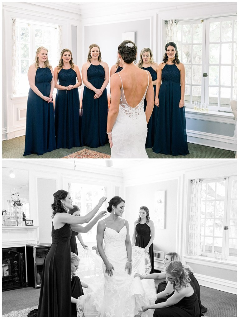 Bridesmaids first look with bride and fluffing out her dress| Tulsa wedding| Tulsa wedding photographer| Andi Bravo Photography