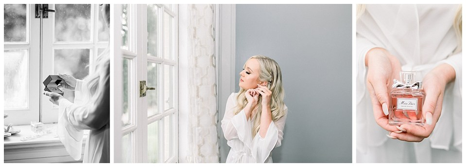 Bride holding wedding jewelry and perfume bottle| Bride putting on earring by window| bride getting ready shots| Tulsa wedding photographer| destination wedding photographer| Andi Bravo Photography