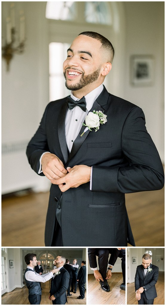Groom grinning while getting ready| black tux| groom detail shots| Andi Bravo Photography