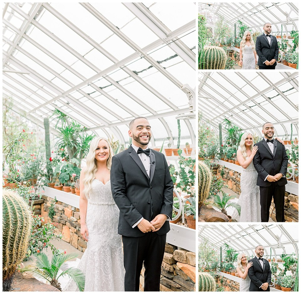 Bride walks up to groom in greenhouse for first look| wedding first look| Tulsa wedding venue| greenhouse wedding| Andi Bravo Photography