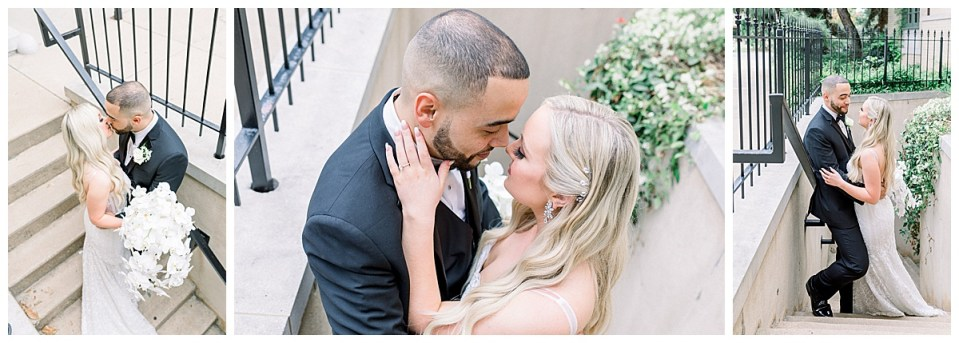 Bride and groom kissing in stairwell| Tulsa weddings| Tulsa wedding venue| Andi Bravo Photography