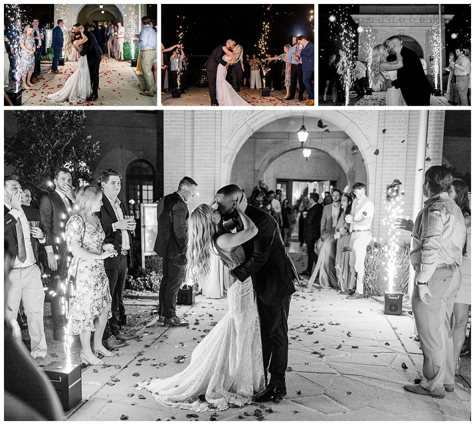 Bride and groom grand exit| The Mansion at Woodward Park| Tulsa weddings| Rose petal and sparks wedding grand exit| Tulsa wedding photographer| Andi Bravo Photography