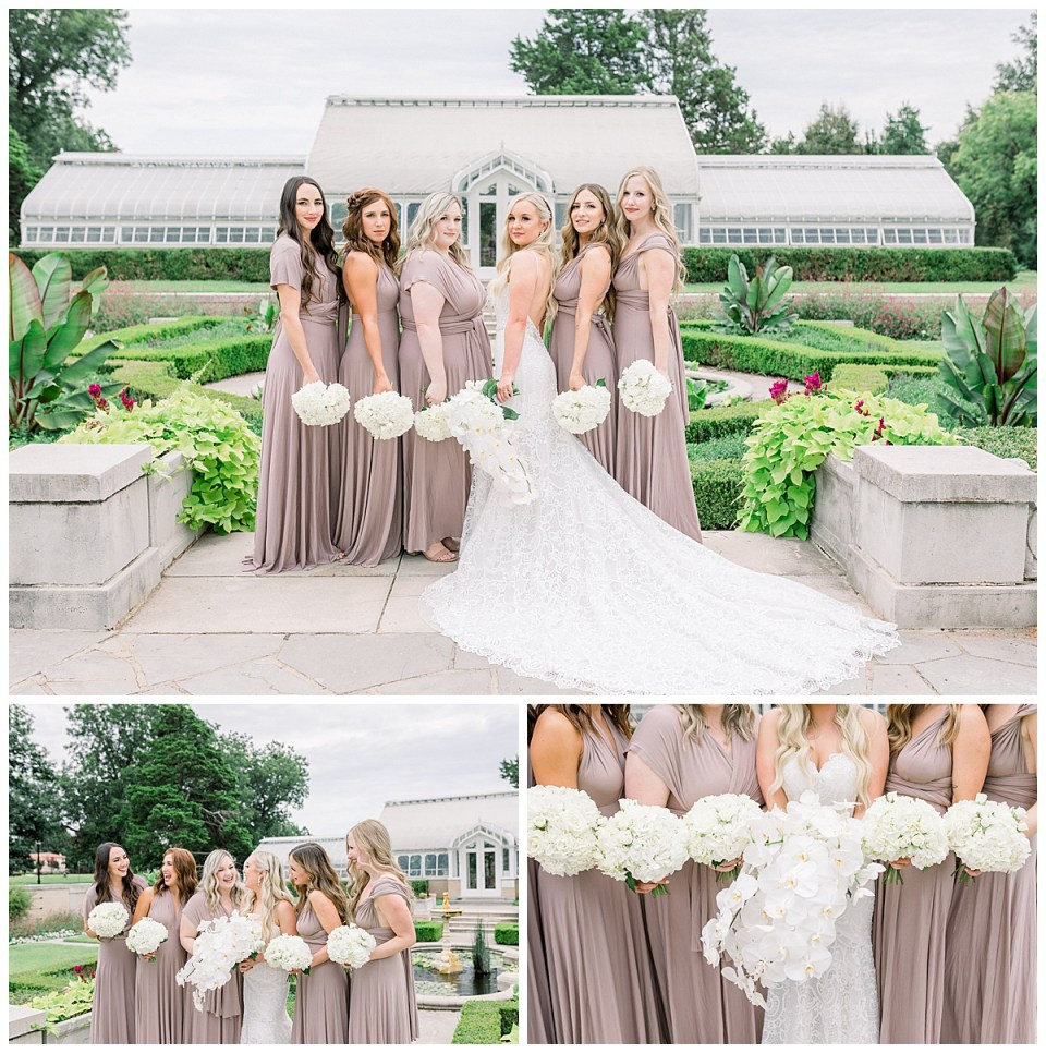 Champagne bridesmaids dresses| white bridesmaids bouquets| orchid bridal bouquet| Bride and bridesmaids in front of Tulsa greenhouse| Andi Bravo Photography