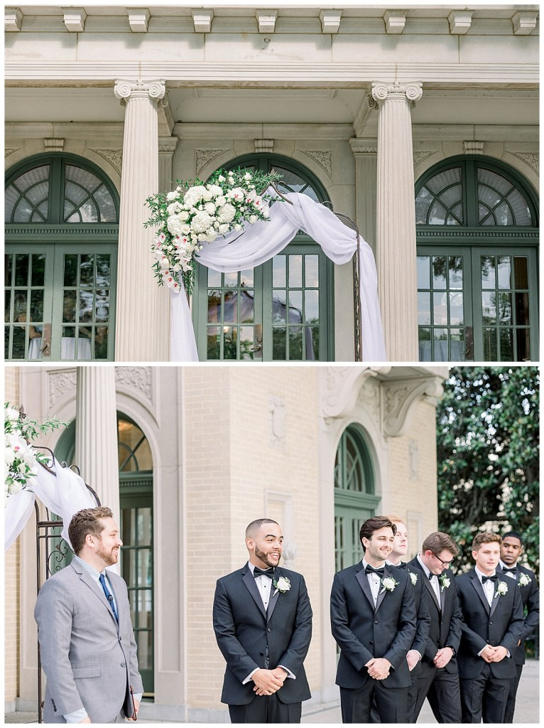 Groom sees bride coming up aisle for the first time at the Mansion at Woodward Park wedding| Tulsa wedding venue| Andi Bravo Photography