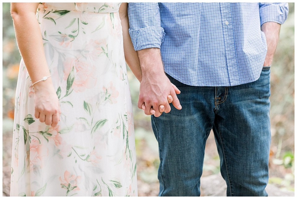 Guy and girl holding hands for Tulsa engagement