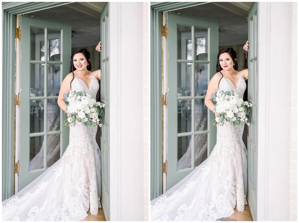 Bride standing in green doors at Tulsa Mansion at Woodward Park Bridal session