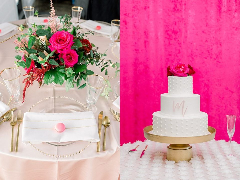 Pink wedding reception details white wedding cake