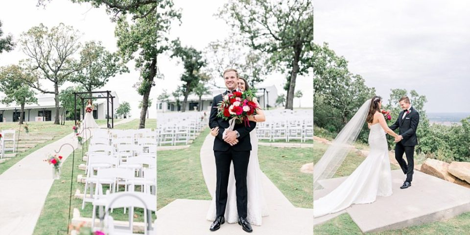 Bride and groom first look at Dream Point Ranch Tulsa wedding venue
