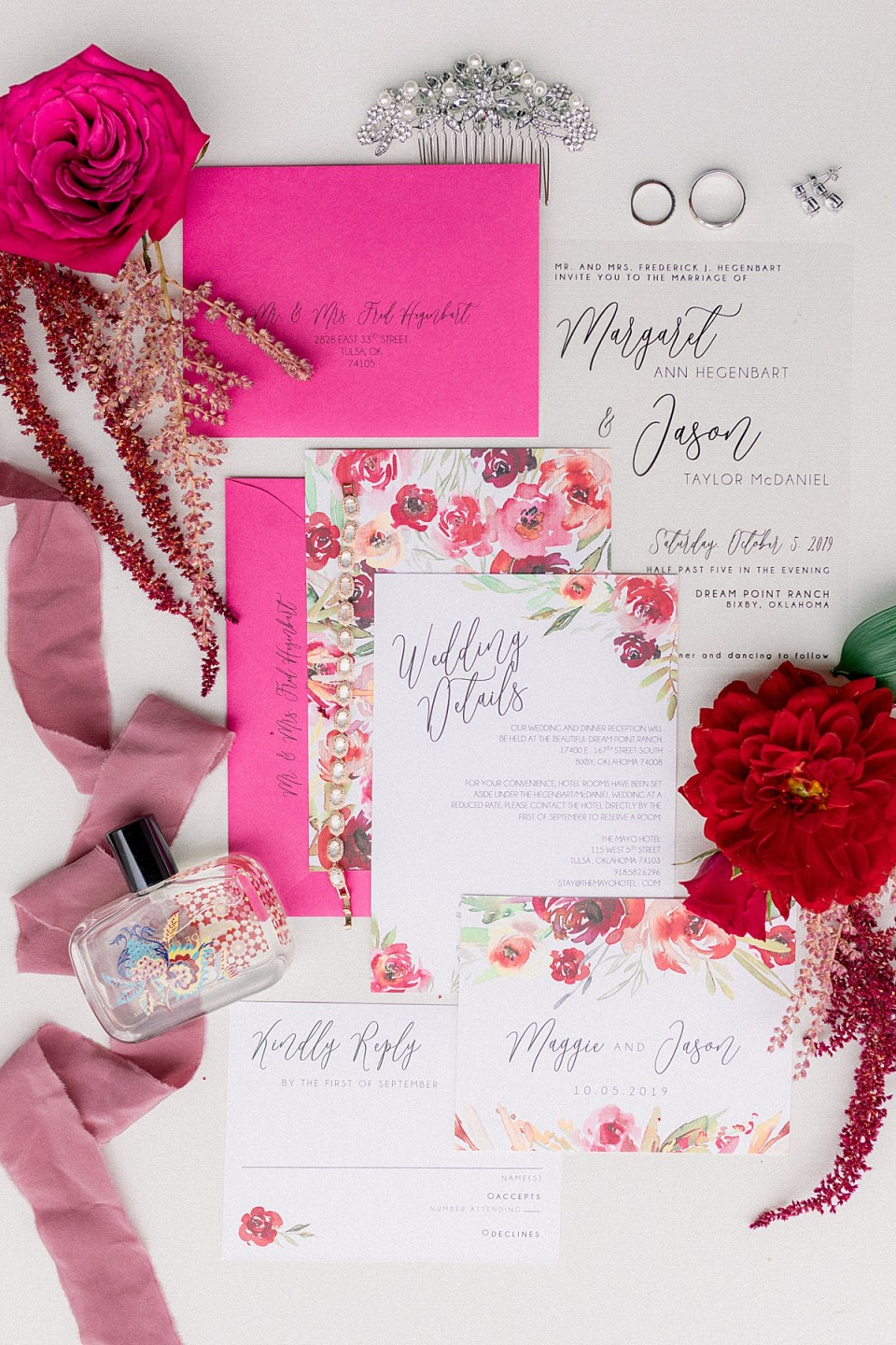 pink and red wedding details