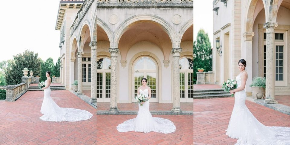 Bride holding bouquet at Tulsa Philbrook bridal session