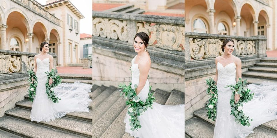 Bride walking down steps at Philbrook