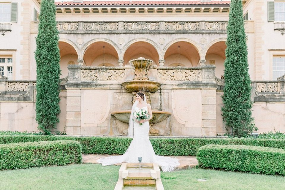 Bride standing in garden at Philbrook