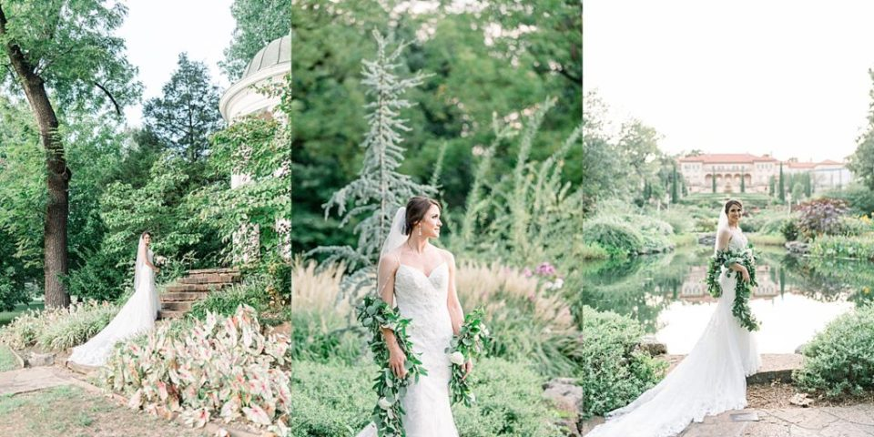 Bride standing in garden at Tulsa Philbrook bridal session