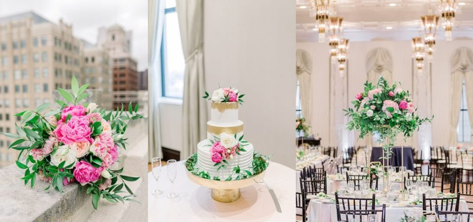 wedding reception,pink gold and white 3 tiered cake at Tulsa Club Hotel