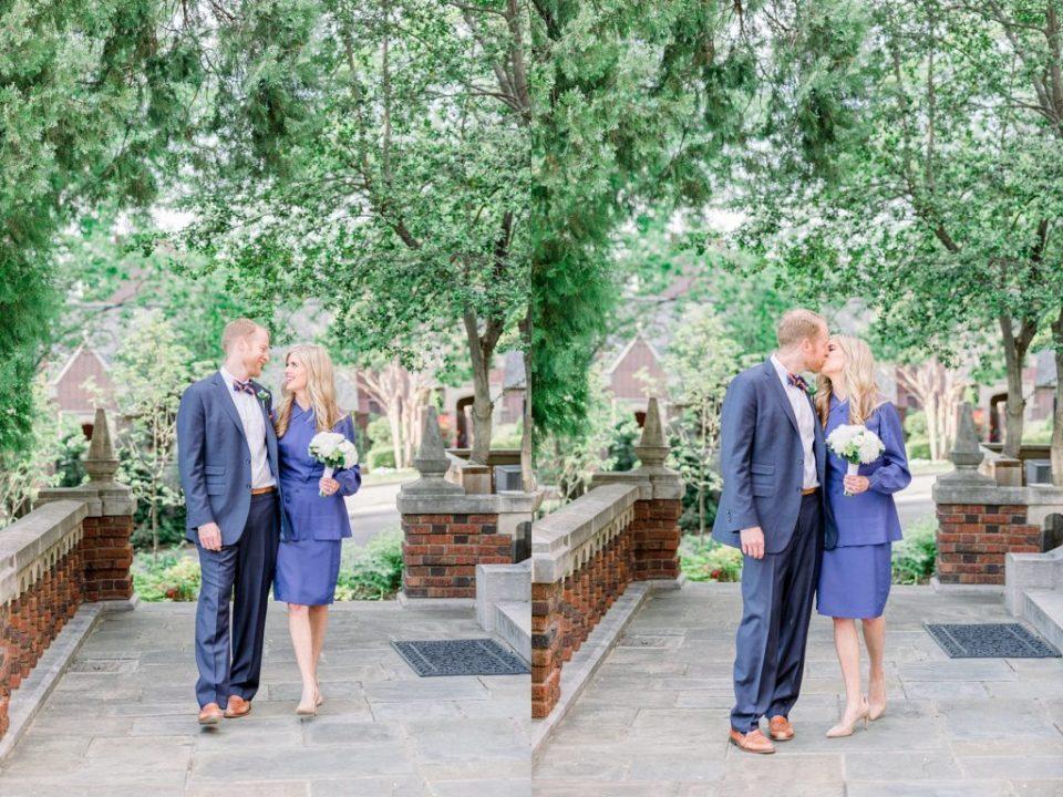 Bride and groom kiss at Harwelden Mansion