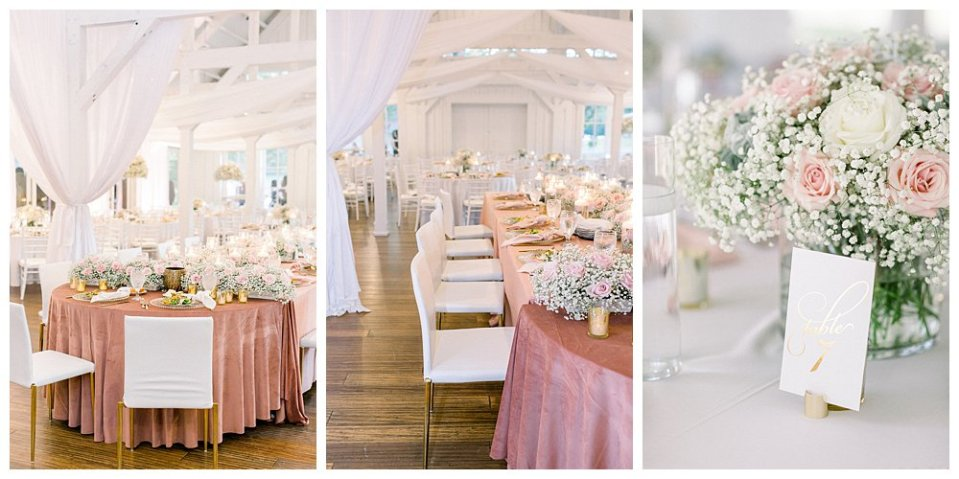 Blush pink and white wedding reception at Spain Ranch