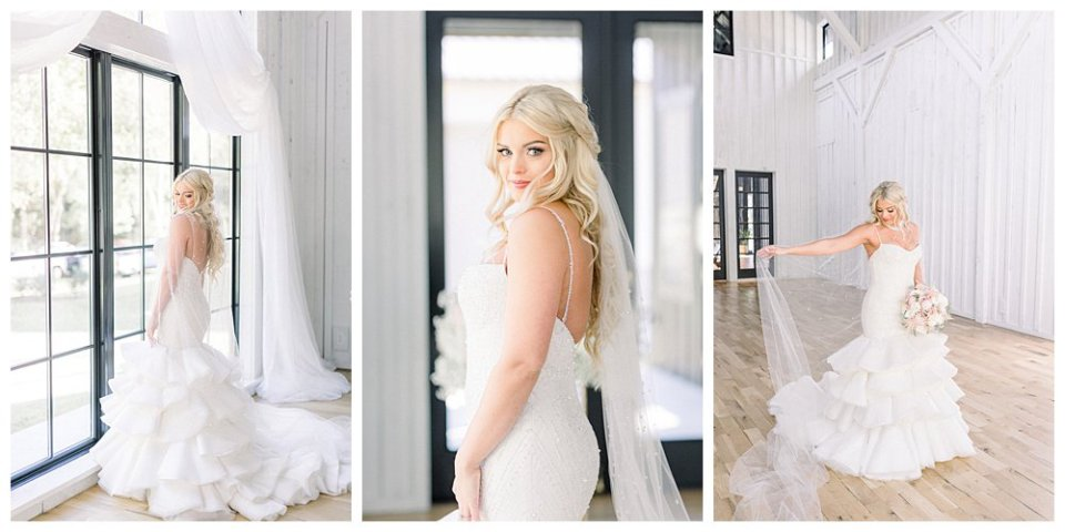 Bride in Swarovski crystal embedded trumpet ruffled wedding gown at Spain Ranch