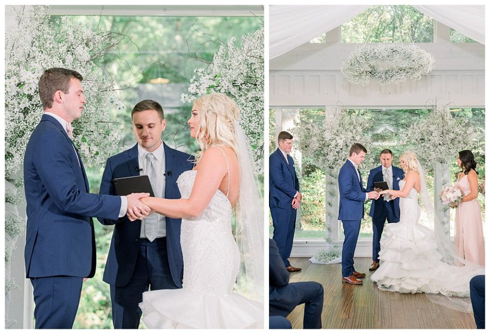 Bride and groom exchange vows at Spain Ranch