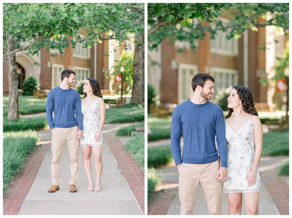 Couple walking hand in hand OU engagement session