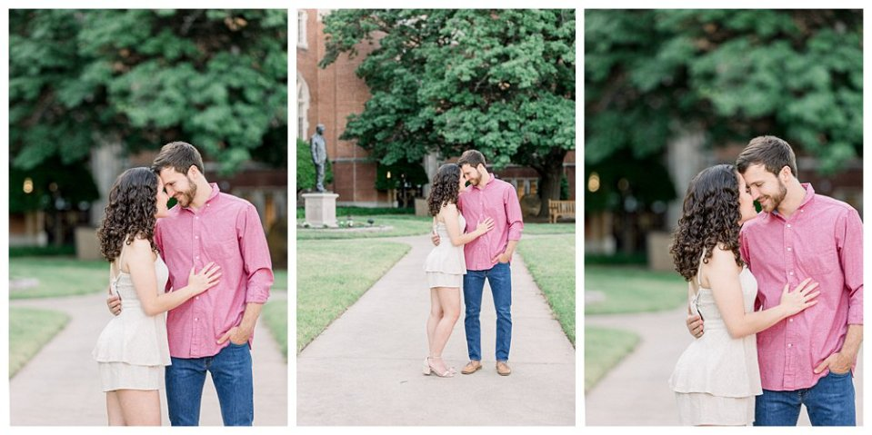 Couple standing and nuzzling in Norman engagement session