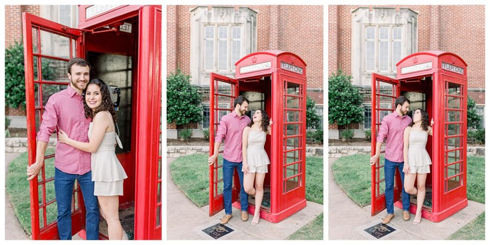 Couple laughing and playing in telephone booth