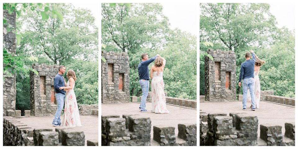 Couple dancing on old castle ruins