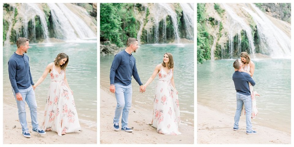 Couple walking along beach at Turner Falls