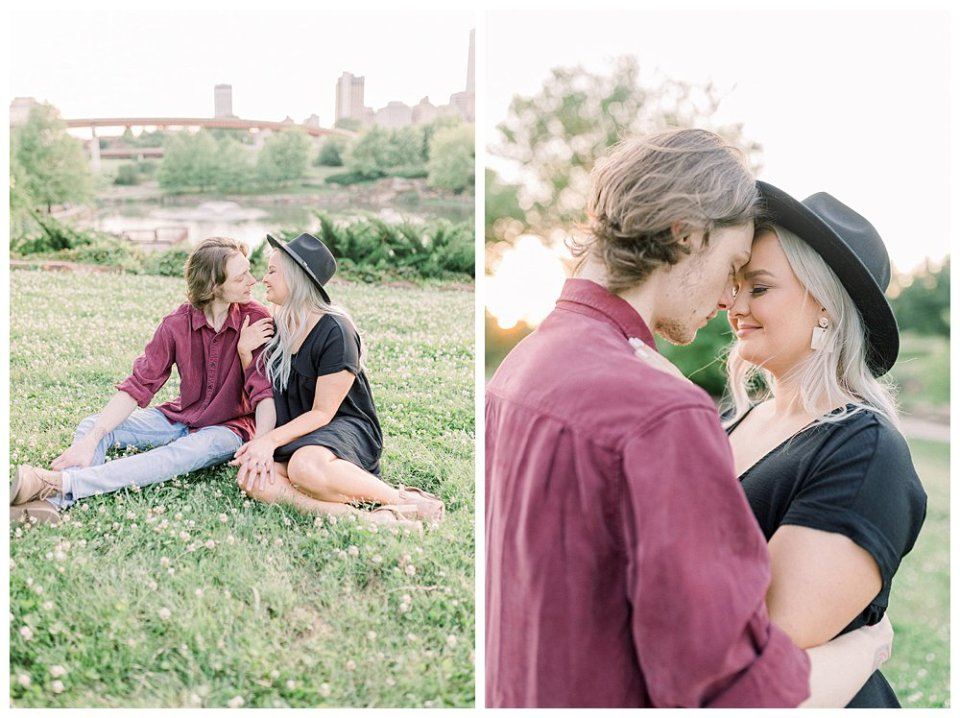 Couple nuzzling in grass  in Guthrie Green / Centennial Park Tulsa engagement