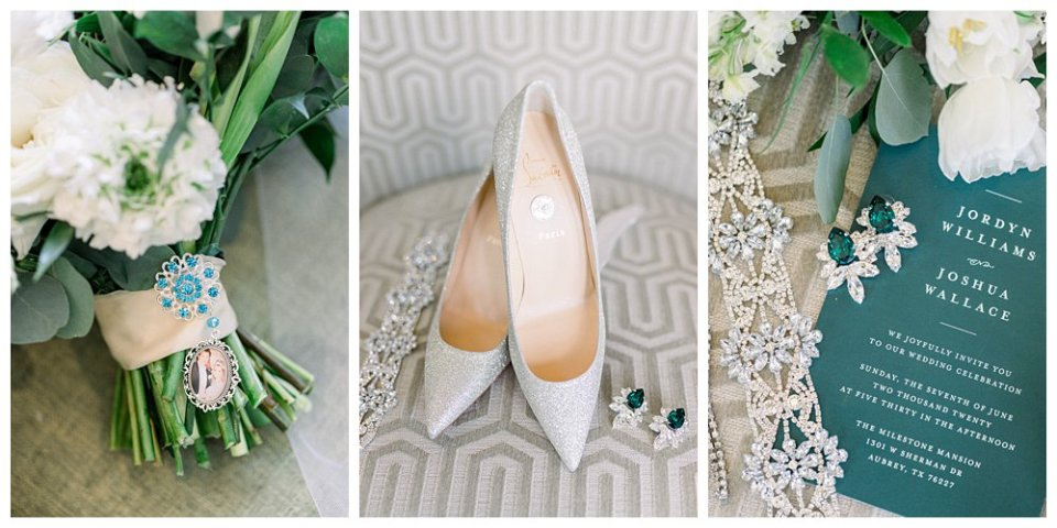 Wedding details, wedding heels, wedding coin, wedding jewelry