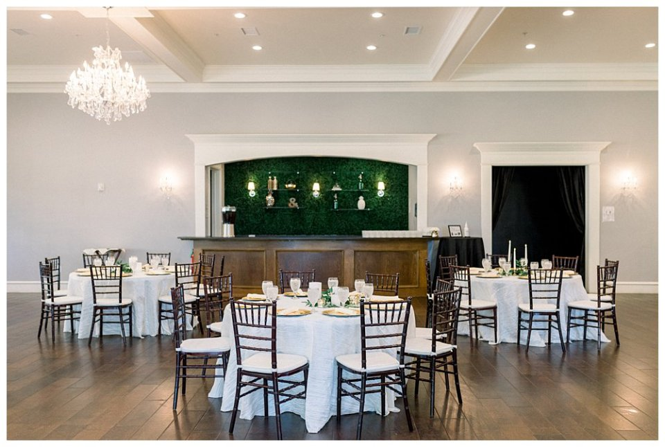 Reception dining hall at The Milestone Mansion wedding Aubrey TX