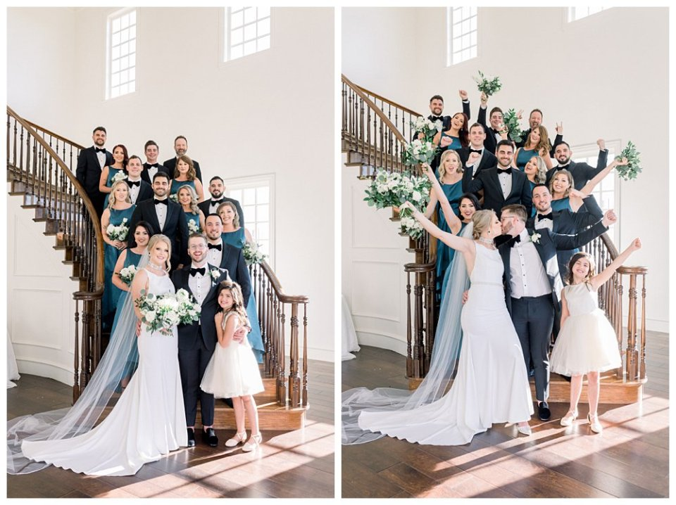 Bridal party cheering on beautiful staircase at The Milestone wedding Aubrey Texas