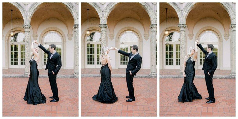 Couple dancing at Tulsa Philbrook engagement