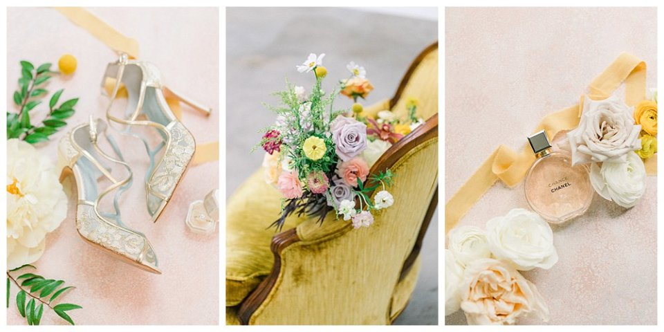 Gold and pastel wedding details