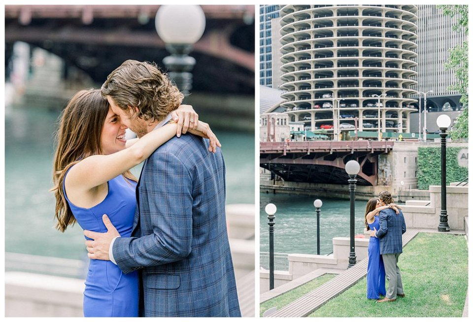Couple embracing and kissing next to Chicago river