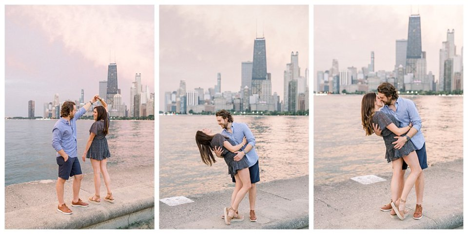 Couple dancing in Chicago engagement