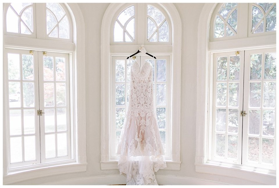 Champagne Lacy crystal trumpet wedding gown at the Mansion at Woodward Park Wedding
