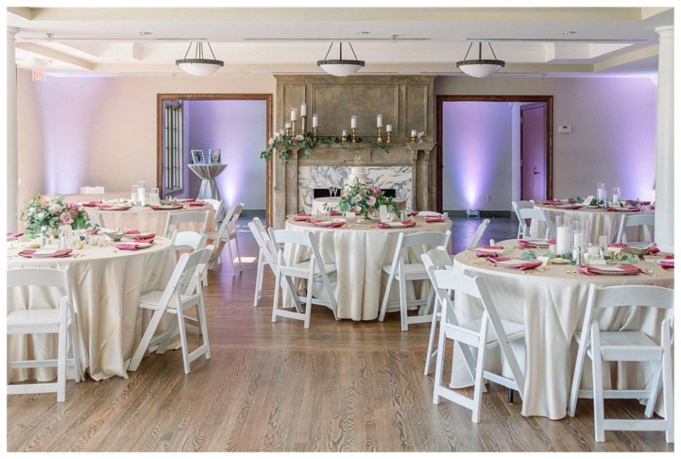 Wedding reception hall at The Mansion at Woodward Park wedding