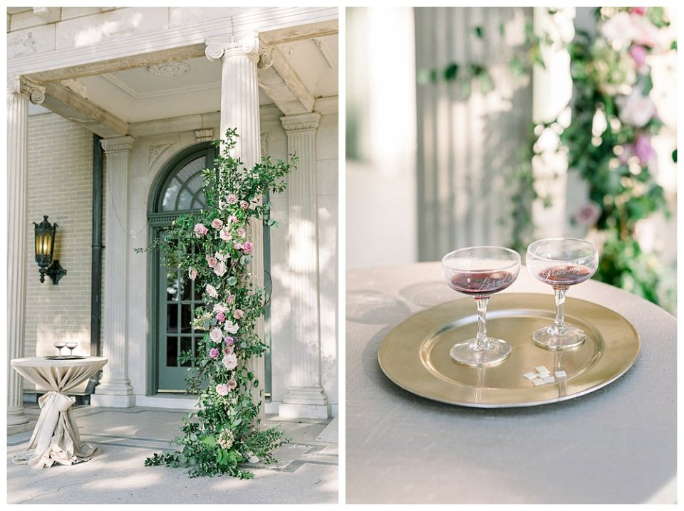 Bride and groom wine glasses at The Mansion at Woodward Park wedding