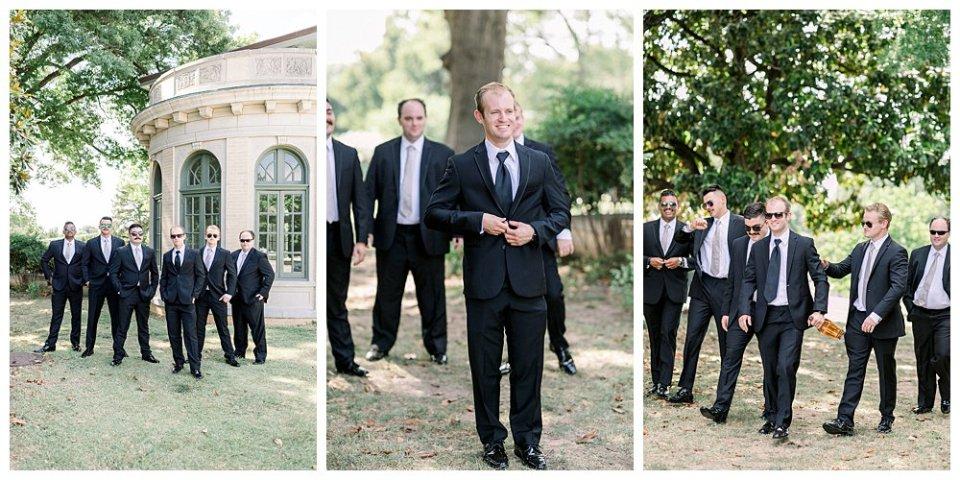 Groom walking with groomsmen